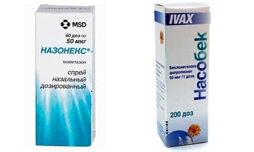 Для лечения синусита или аллергического ринита применяются такие препараты, как Насобек или Назонекс
